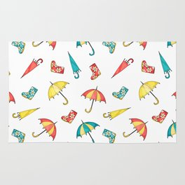 Modern autumn yellow red teal watercolor umbrella wellies Rug