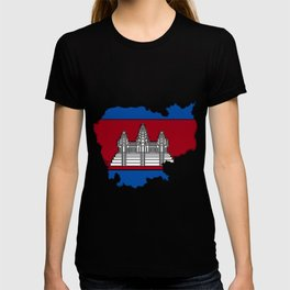 Cambodia Map with Cambodian Flag T-shirt