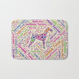 Airedale Terrier Fun Dot Art and Word Pattern Bath Mat