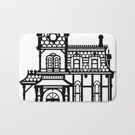 Old Victorian House - black & white Bath Mat