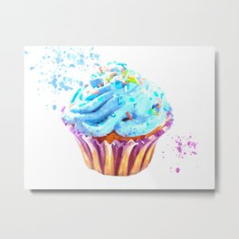 Cupcake watercolor illustration Metal Print