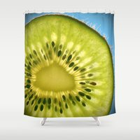 kiwi Shower Curtains featuring Kiwi by Oberleigh Images