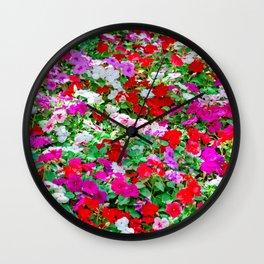 Colorful Petunia Flowers Wall Clock