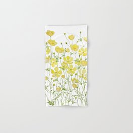 yellow buttercup flowers filed watercolor  Hand & Bath Towel
