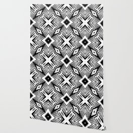 Black and White - Woodcut Etching Cross Geometric Wallpaper