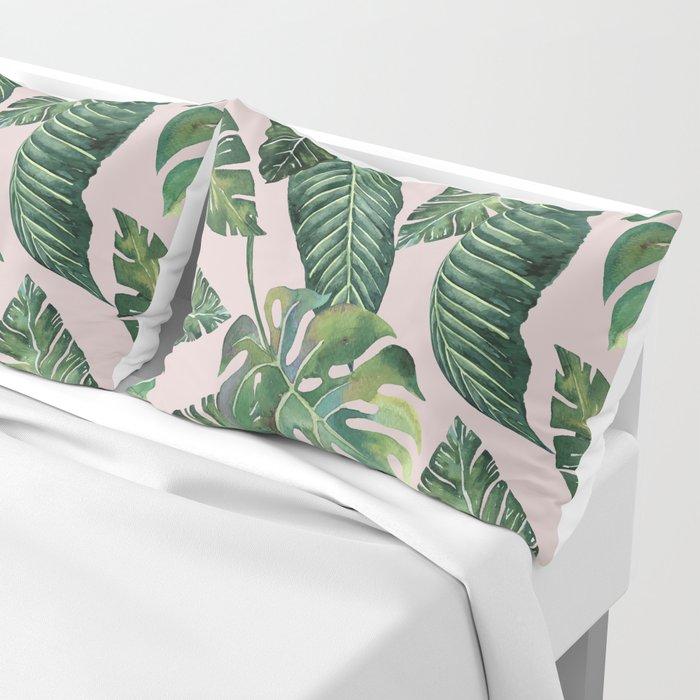 Jungle Leaves, Banana, Monstera Pink #society6 Kissenbezug