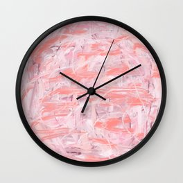 Salmon & Pale Pink Abstract Wall Clock