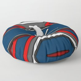 Blue and Red Snow Ski Skier Skiing Sports Design Floor Pillow