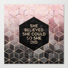 She Believed She Could - Grey Pink Canvas Print