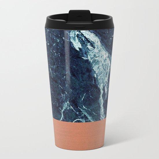 Blue Marble & Copper Metal Travel Mug