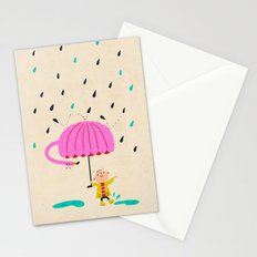 one of the many uses of a flamingo - umbrella Stationery Cards