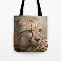 cheetah Tote Bags featuring Cheetah  by Pauline Fowler ( Polly470 )