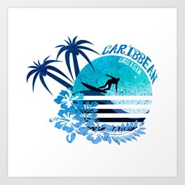 Caribbean Cruisin Blue Surfing Design Art Print