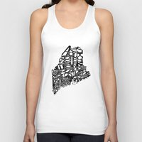 maine Tank Tops featuring Typographic Maine by CAPow!