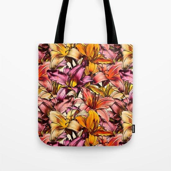 Daylily Drama - a floral illustration pattern Tote Bag