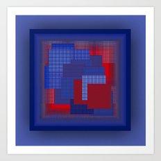 Blue Color Geometry Art Print