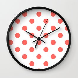 Polka Dots - Pastel Red on White Wall Clock