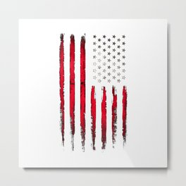 Red Vintage American Flag Metal Print