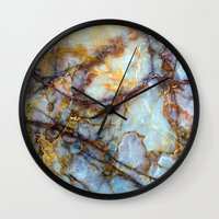 grey Wall Clocks featuring Marble by Patterns and Textures