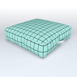 Grid Pattern - seafoam and black - more colors Outdoor Floor Cushion