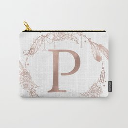 Letter P Rose Gold Pink Initial Monogram Carry-All Pouch