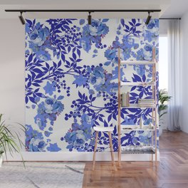 BLUE AND WHITE ROSE LEAF TOILE PATTERN Wall Mural