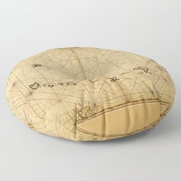 A chart of the Caribe Ilands (1680) Floor Pillow