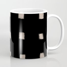 Polka Strokes Gapped - Nude on Black Coffee Mug