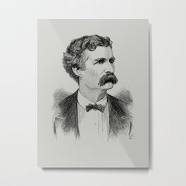 Mark Twain Engraved Portrait - 1870 Metal Print