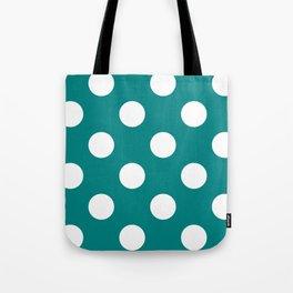 Large Polka Dots - White on Dark Cyan Tote Bag