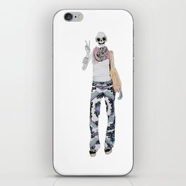 peace sign skeleton iPhone Skin