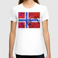 norway T-shirts featuring circuit board Norway (Flag) by seb mcnulty