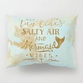 Beach - Mermaid - Mermaid Vibes - Gold glitter lettering on teal glittering background Pillow Sham