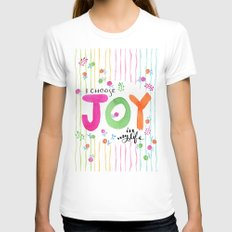 Joy LARGE White Womens Fitted Tee