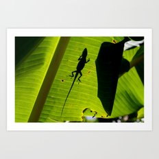 lizard on a leaf Art Print