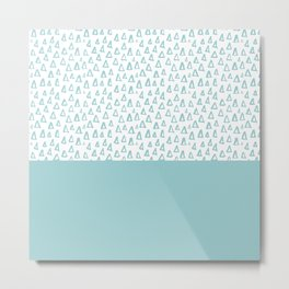 Triangles Mint Metal Print