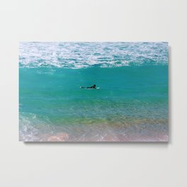 Surfer paddling to the surf at Bronte Beach. Sydney. Australia. Metal Print