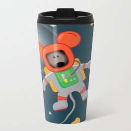 Space Mouse floating in space Metal Travel Mug
