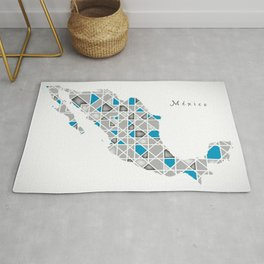 Mexico Map crystal style artwork Rug