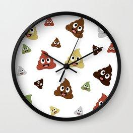 smiling pile of poop emoji Wall Clock