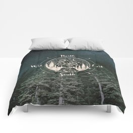 Mountains Compass Milky Way Woods Gold Comforters