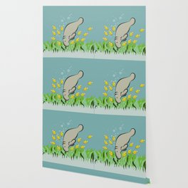 Manatee and fish Wallpaper