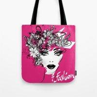 fashion illustration Tote Bags featuring fashion illustration by Irmak Akcadogan