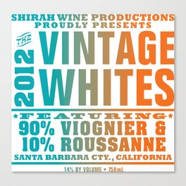 Vintage Whites Wine Label Canvas Print