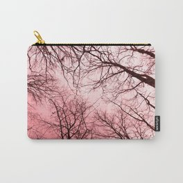 Naked trees tops, pink sky Carry-All Pouch