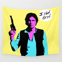 han solo Wall Tapestries featuring Han Solo: I Shot First by Chadventure