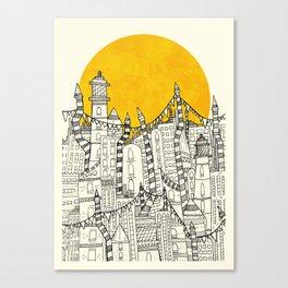 Big Sun Small City Canvas Print