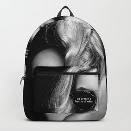 I'd prefer a battle of wits, but you appear unarmed - humorous black & white photograph / Haley Alex Backpack