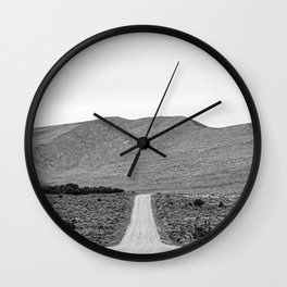 Road Outta Town // Black and White Landscape Photograph Going Out to Nowhere Peaceful Scenery Wall Clock