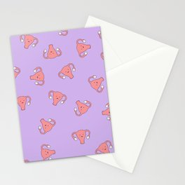 Crazy Happy Uterus in Purple, Large Stationery Cards